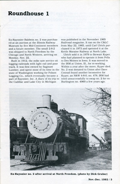 Page of November-December 1982 Mid-Continent Railway Gazette announcing arrival of #2