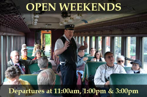 Open weekends. Departures at 11:00am, 1:00pm, and 3:00pm
